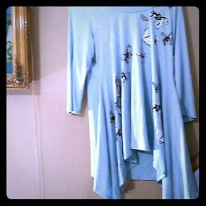 Karen Kane top butterflies blue Silver Lining XL